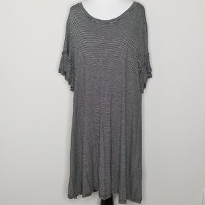 NWT Merona Striped Dress with Ruffle Sleeves XXL